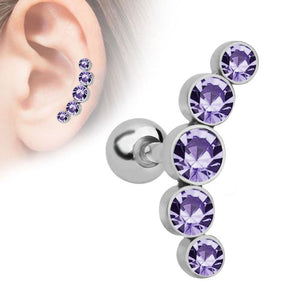 Alisouy 1Pc Crystal Gem Ear Tragus Rings 16G Stainless steel Bar Ear Piercing Cartilage