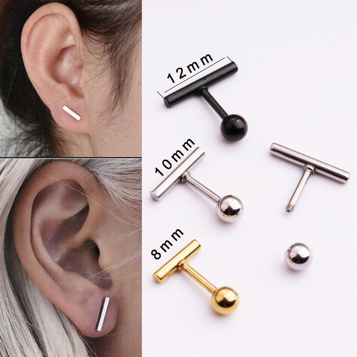 women simple tiny fashionable ball bar ear tragus helix rook cartilage daith piercing jewelry
