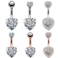 Navel Earring Belly Piercing Steel Belly Button Rings Crystal Piercing Navel Heart Style Piercing Sex Body Jewelry Piercings