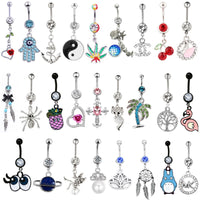 1PC Luxury 14G Pineapple Belly Button Rings for Women Pendant Rings Body Piercing Jewelry Bohemian Dream Catcher Navel Piercings