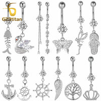 Sexy Silver Dangle Belly Bars Belly Button Rings Surgical Titanium Rhinestone