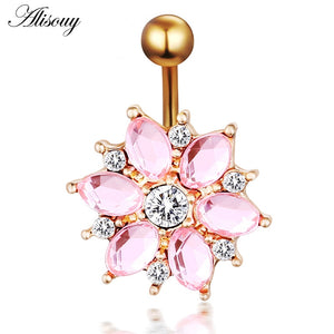 Steel Body Piercing Jewelry Flower Navel Belly Bar Pircing Belly Piercing