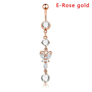 Sexy Belly Bars Belly Button Rings Belly Piercing CZ Crystal Flower Body Jewelry