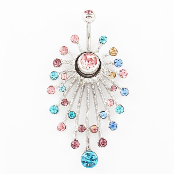 Body jewelry women Multi-color stones flower belly button ring