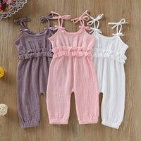 Newborn Baby Girl Clothes Cotton Solid Sleeveless Ruffles Ruched Three Colors Outfit Pants Trousers