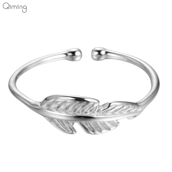 Retro Vintage Leaves Plant Rings Women Bohemia Natural Leaf Pattern Open Midi Toe Rings For Feamle Jewelry Silver Ring