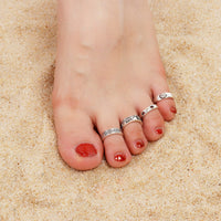 8Pcs/Set Adjustable Knuckle Foot Rings New Boho Flowers Carved Heart Open Toe Ring Set Vintage Women Gifts Beach Jewelry