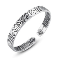 Ankle Bracelet Lotus Flower Engraved Jewelry Viking Cuff Bangle Silver Plated Magnetic Bracelets Bangles For Man Women Gift WH-5