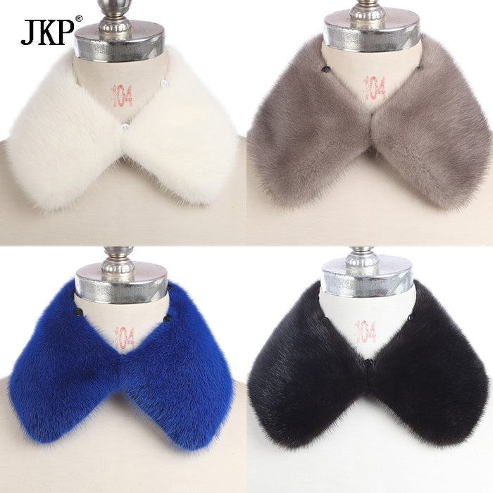 JKP Real Mink Fur Scarf Women/Men Winter Knitted Natural Mink Fur Collar Warm Jacket wear Mink Fur Scarf