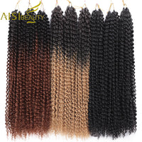 AISI BEAUTY 18inch Passion Twist Hair Ombre Blonde Water Wave Bohemian Braid Freetress Crochet Braiding Synthetic Hair Extension