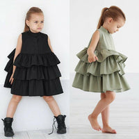 Hot Sale Baby Girls Clothes arrival Vintage Sleeveless Solid Color Cute Lovely Tutu Bud Dress Reffles Party Pageant Black Green