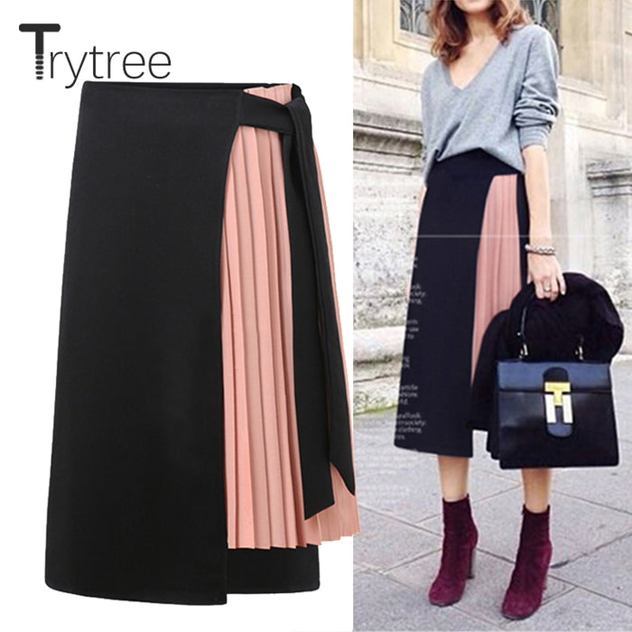 summer Autum women skirt Casual Polyester Chiffon Asymmetry High waist zipper skirt Splicing streetwear pink