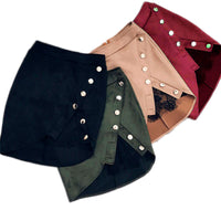 New arrival Women Ladies High Waist Pencil Skirts button lace patchwork sexy Bodycon Suede Leather split party casual Mini Skirt