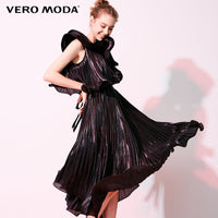 Vero Moda Women's Ruffled Pleat Oblique Shoulders Party Dress | 31847A508