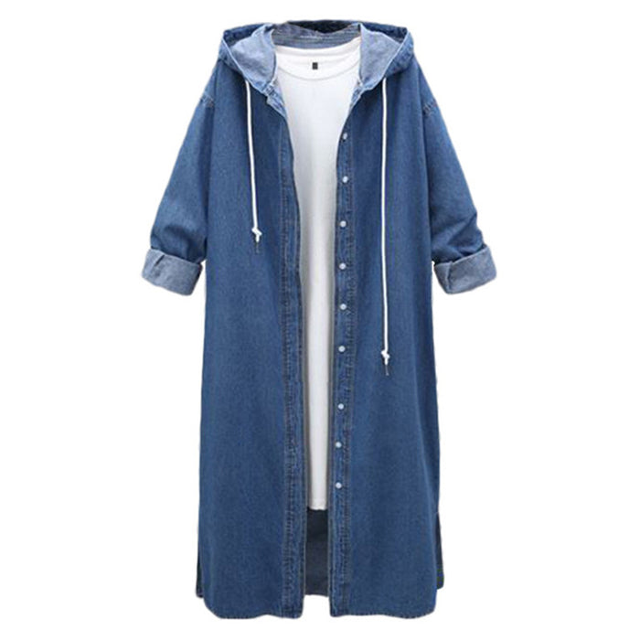 New Spring Women's Long Denim Coats 2019 Korea Loose Hooded Jeans Overcoat Casual Plus size Denim Female Windbreaker Jacket 4XL
