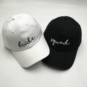 Cotton Embroidery Bride Baseball Cap For Women Wedding Party Squad Snapback Hat Outdoor Sports Hat Summer Trucker Cap Bone