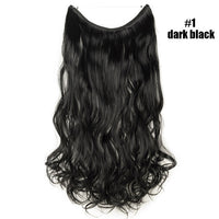 "SNOILITE 24"" Long Curly Fish Line Hair Wire Hair Extensions For Women Real Natural Synthetic No Clips Invisible Hairpieces"