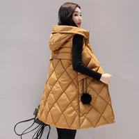 Autumn Winter Vest Women New Fashion Female Sleeveless Jacket Hooded Warm Long Vest