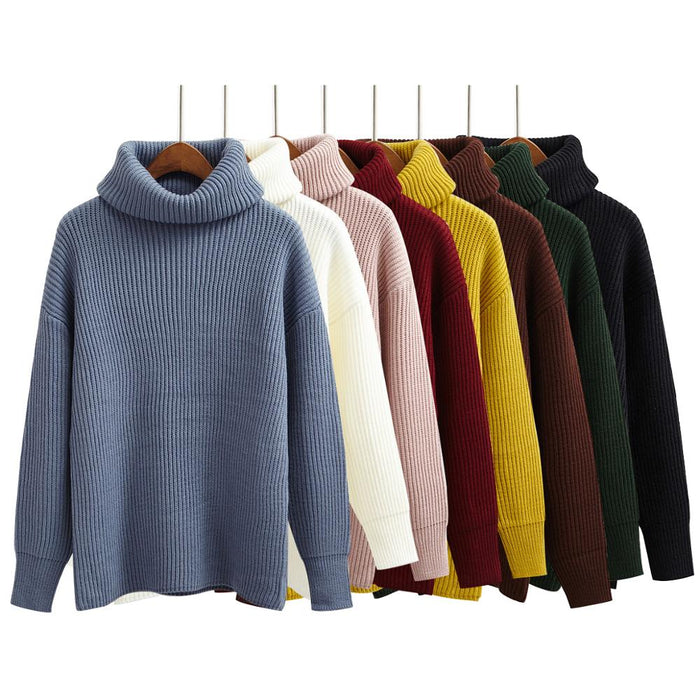 Korean Simple Basic Knitted Sweaters Women Winter Turtleneck Long Sleeve Pullovers Sweater Female Casual  Jumper 8 Colors