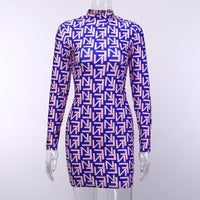 ANJAMANOR Fall 2019 Sexy Club Dresses Fashion Letter Print High Neck Long Sleeve Mini Bandage Bodycon Dress Women D76-AA70