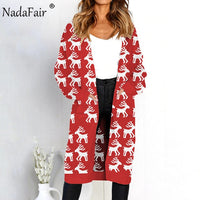 Nadafair Leopard Print Knitted Long Cardigan Women Jumper Pockets Casual
