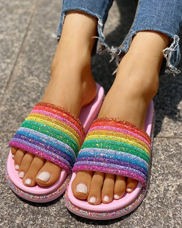 Summer Rainbow Bling Slippers For Girls Non-slip Soft Beach Ladies Slides Flats Shoes Home Women Slipper Outdoor Footwear Sandal