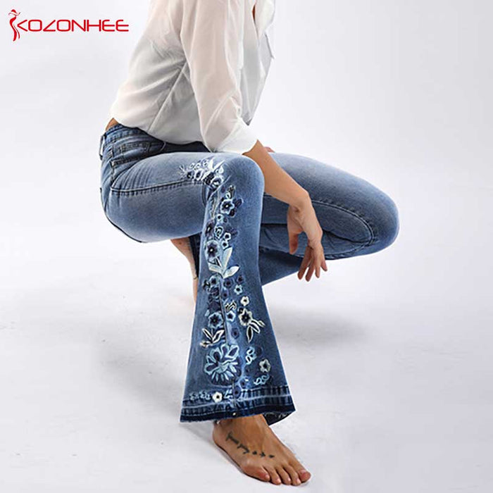 Embroidery Stretching Flare Jeans Women Elasticity Bell-Bottoms Jeans
