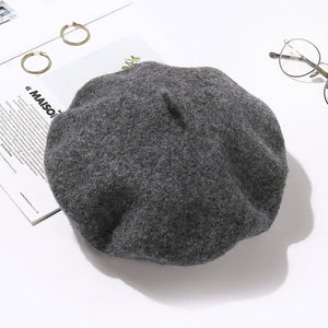 100% Pure Wool Beret Hat for Women Fashion British Style Solid Color Winter Beret Hats Women Flat Cap Girl Felt Berets