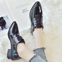 Bailehou Women Patent Leather Casual Shoes Woman High Quality Lace Up Black Brogue Shoes Ladies Flats Pointed Toe Oxford Shoes