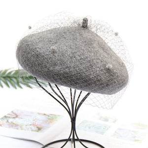 USPOP 2019 women winter hats vintage wool beret hat retro mesh yarn berets female fashion adjustable solid color beret caps