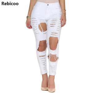 2019 New White Hole Ripped Jeans Women Jeggings Cool Denim High Waist Pants.