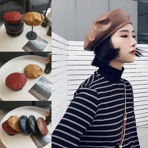 Vintage Womens Ladies Autumn Spring Faux PU Leather Beret Berets Hat French Cap Wine Red Black Brown