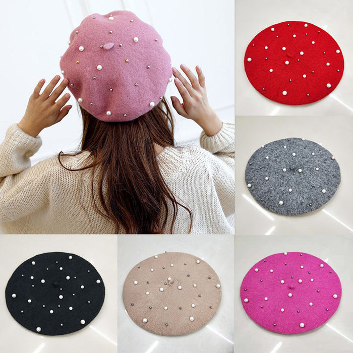 Newest Vintage Wool Knittd Women French Pearl Beret Hats Ski Caps Warm Winter Girl Sweet Painter Hat Beanie Bonnet Femme Gorras