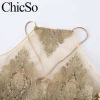 MissyChilli Halter gold glitter crop top Women transparent mesh bandage backless cami Party club autumn sexy camisole tank top