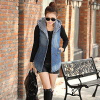 Women Winter Vest Cotton Padded Hooded Denim Wiastcoat Single Breasted Pockets Sleeveless Warm Jeans Jacket Casual Gilet Femme