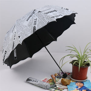 Newspaper Printing Three Folding Umbrellas Woman Lady Princess Dome Parasol Sun Rain Umbrella Flouncing Folding Lotus Leaves J35