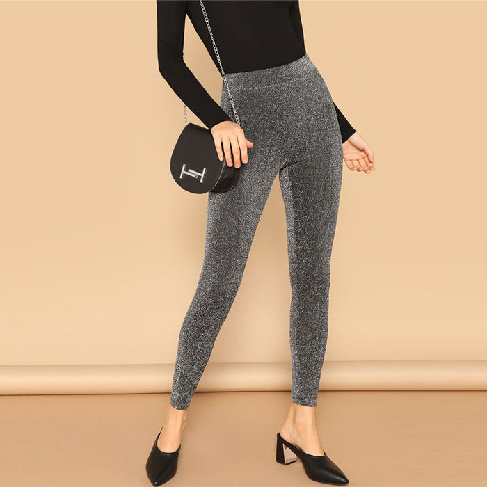 Silver Glamorous Elastic Waist Sparkle Maxi Leggings Spring Women Streetwear Casual stretchy Solid Leggings Pants