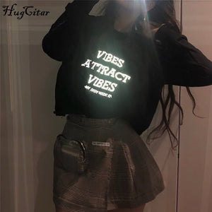 Hugcitar reflective letters print patchwork long sleeve tops 2019 autumn winter women streetwear sweatshirts outfits