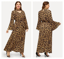COLROVIE Plus Size Choker Collar Cheetah Leopard Print Belted Casual Maxi Dress