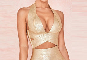 2019 new fashion women's bandage dress sexy gold summer sleeveless hollow two-piece set of Bodycon dress celebrity party dress