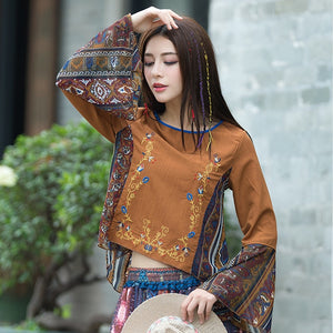 Flower Blouse Women Vintage O-neck Flare Sleeve Loose Blouses Female Shirts
