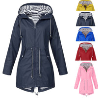 Women Solid Color Long Rain Coat Outdoor Jackets With Pocket Waterproof Plus Size New Fashion Windproof Hooded Raincoat Hot Sale