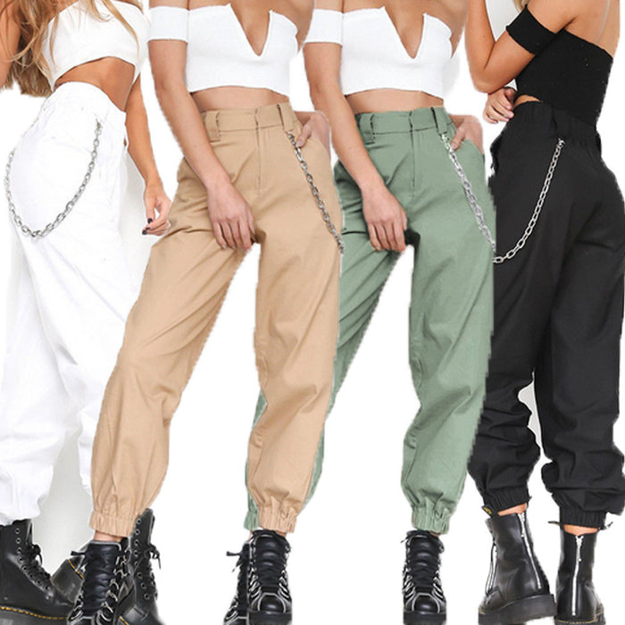 Hirigin AU Fashion Women Loose Pants Chain Hip-Pop Casual Cargo Joggers Harem Trousers