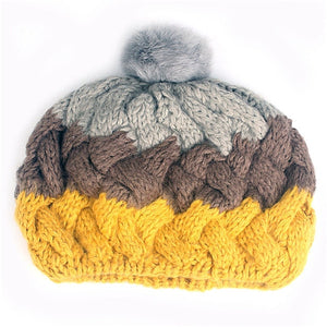 Xthree  women's hat knitted winter hat beret hat fashion beanie cap with rabbit fur pom pom