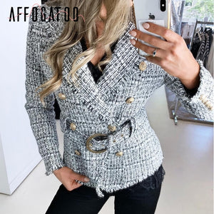 blazer coat women Casual double breasted tweed button belt ladies coat Long sleeve
