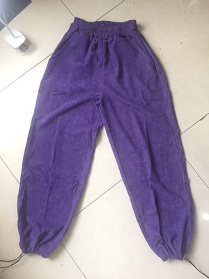 Vintage Purple Solid Corduroy Loose Straight Wide Leg Drawstring Hem Jogger Hiphop
