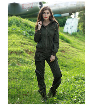 Hooded Jackets Casual Long Sleeve Coat Women Solid Army Green Military Jackets