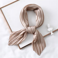 2019 Designer Women Crinkle Scarf Square Silk Neck Scarves Female Leopard Print Hair Band Lady Pleated Scarfs