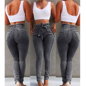 2019 summer new high waist jeans ladies street strap jeans 5XL jeans ladies pencil pants