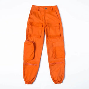 High Waist Zipper Cargo Pocket Loose Jogger Pant Orange Black Blue Harajuku Streetwear Korean Women Workout Fashion Trouser Punk